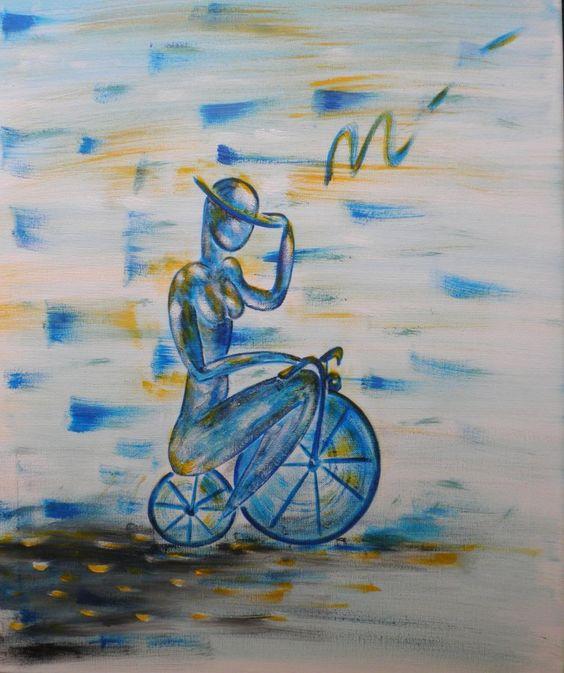 la dame au vélola dame au vélo  acrylique  75 cm * 50 cm