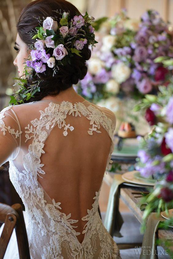 Backless #lace Pnina Tornai #gown | Photography: Storey Wilkins Photography | WedLuxe Magazine #luxurywedding
