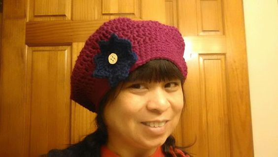 Slouchy Hat with Flower Pin by DeezasCrochet