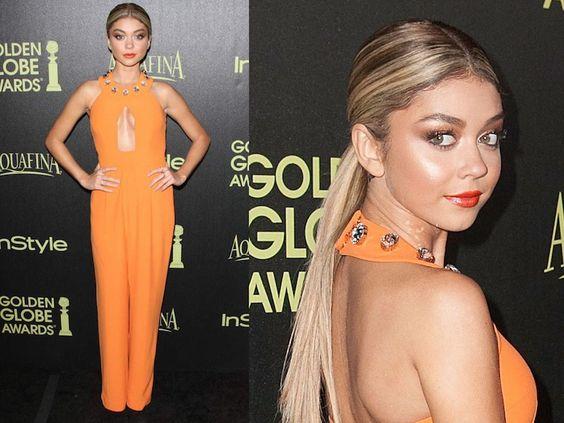 ClioMakeUp-trucco-vestito-abito-arancione-arancio-aranciato-abbinare-ombretto-rossetto-sarah-hyland