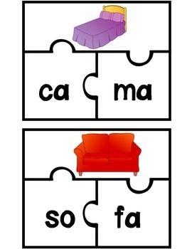 SPANISH PUZZLE FOR 2 SYLLABLE WORDS (ROMPECABEZAS PARA PALABRAS DE 2 SILABAS)  44 palabras de dos silabas. Hace buen practica para el reconocimiento fonologico.