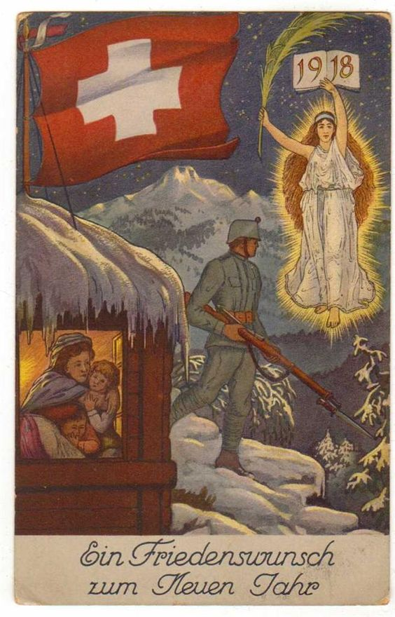Red Cross 1918 Soldier in Snow.  Maybe Swiss?