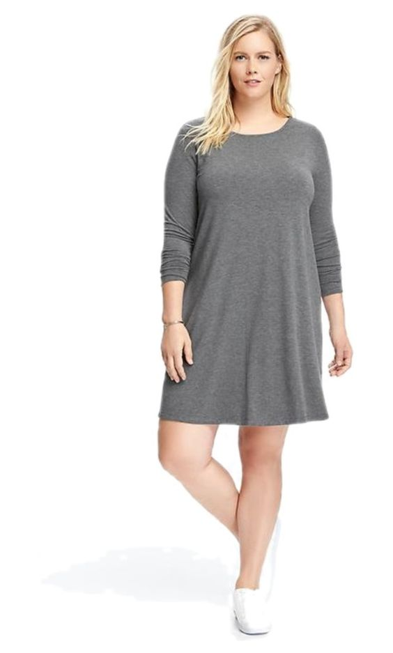 """""""Grey shirt dress"""" by amy-flannery-skaar on Polyvore featuring Old Navy and plus size dresses"""