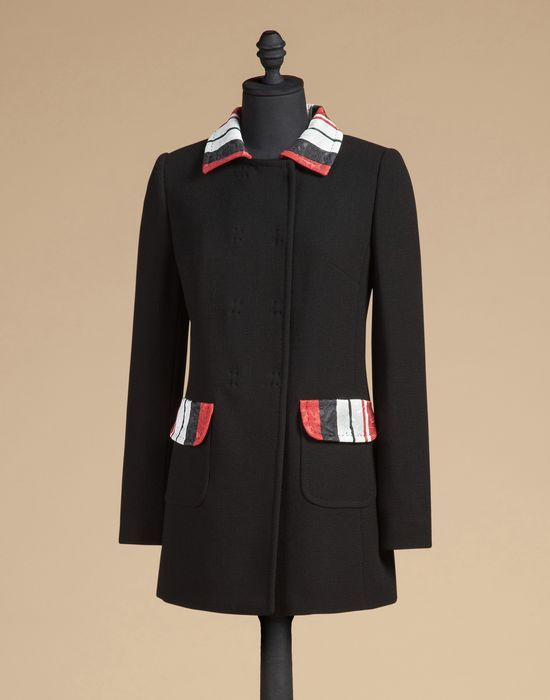 Pea coat in wool with contrasting collar and pockets   dolce&gabbana online store