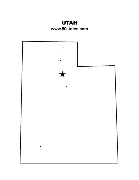 Blank map of Utah. Find this map and the other 49 states at http://www.50states.com.