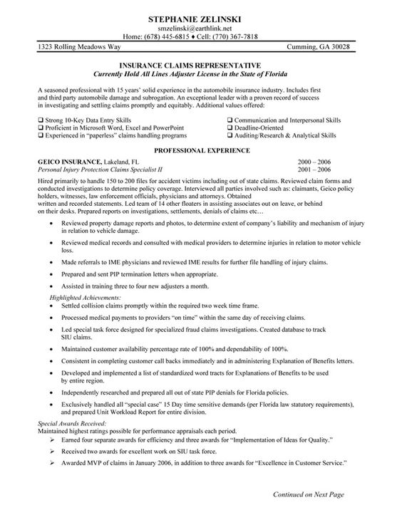 Insurance Claims Representative Resume Sample - http - janitor sample resume