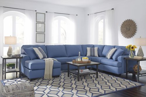 Astonishing Benchcraft By Ashley Brioni Nuvella Blue Sectional Sofa With Squirreltailoven Fun Painted Chair Ideas Images Squirreltailovenorg