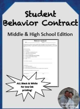This contract is designed to make students accountable or their actions in the classroom.  When they have repeated problems in class, students must read the contract, discuss alternative behaviors and consequences, and then sign the contract.  Further act