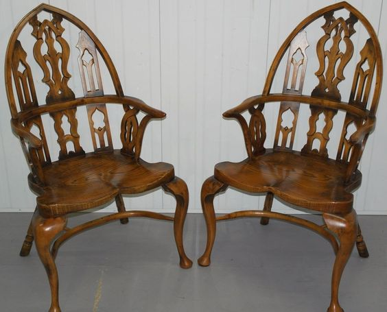 PAIR OF GOTHIC WINDSOR ENGLISH OAK AND YEW WOOD REVIVAL ARMCHAIRS STUNNING FIND