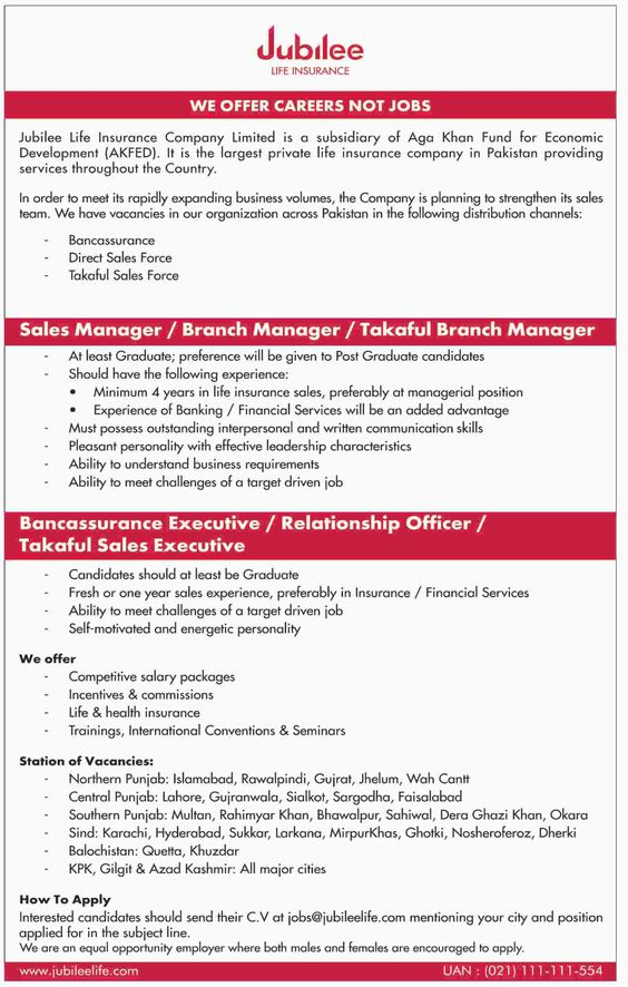 Efu Life Assurance Ltd, Pakistan - Ref - 1164EFU Life is the - branch manager job description