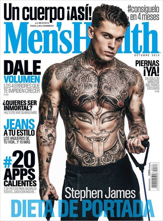 Wilhelmina Models: Stephen James featuring in Men's Health España, October '15. -See more at wilhelminanews.com