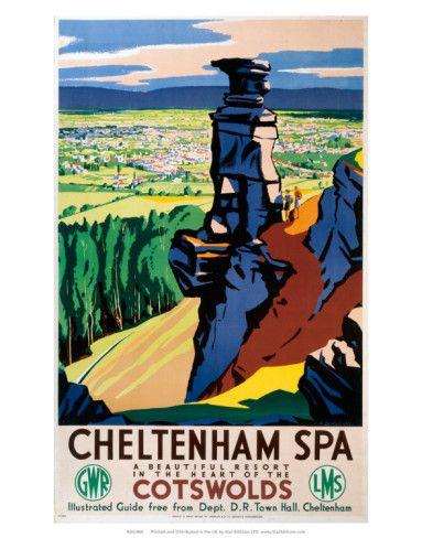 Vintage Travel Poster - UK - Cotswolds, Cheltenham Spa - Railway