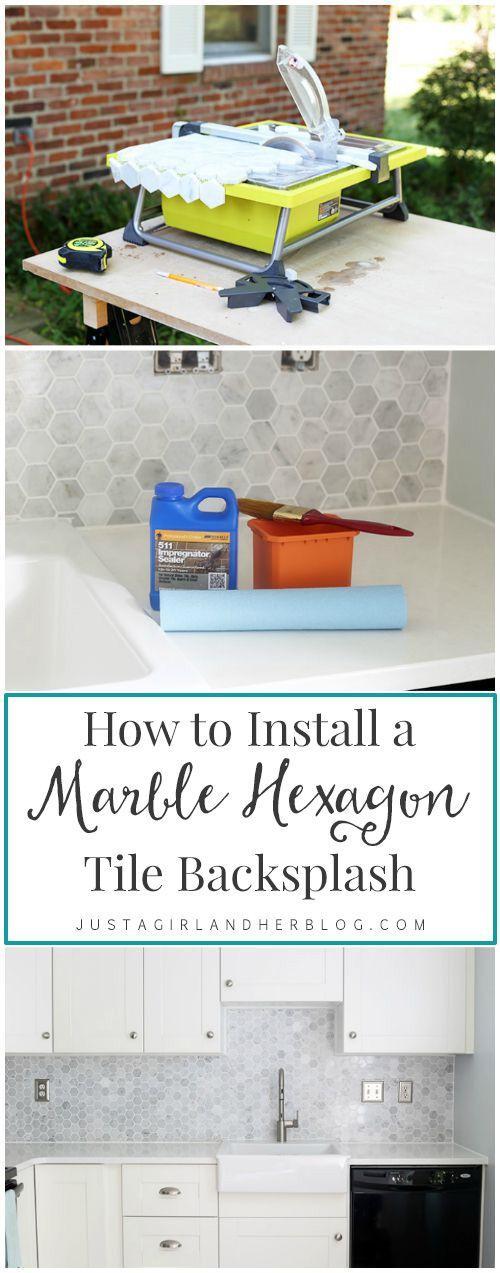 how to install a marble hexagon tile backsplash