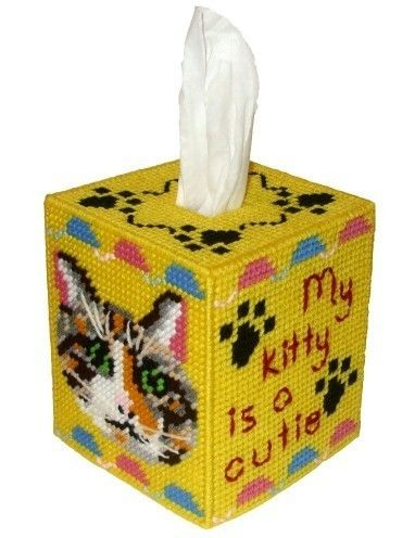 Plastic Canvas Bear Free Patterens | Calico Cat Tissue Box Cover Plastic Canvas by RainbowPonyDesigns: Canvas Craft, Calico Cat