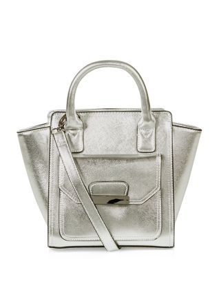 A classic design gets the metallic touch: the Silver Winged Mini Tote Bag. #newlook #bags
