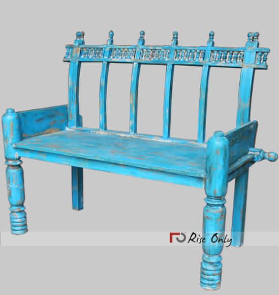 Wooden Bench Online Wooden Painted Bench With Backrest Outdoor Benches Online By Rise Only Contact Us 91 85610 Painted Benches Farmhouse Style Furniture