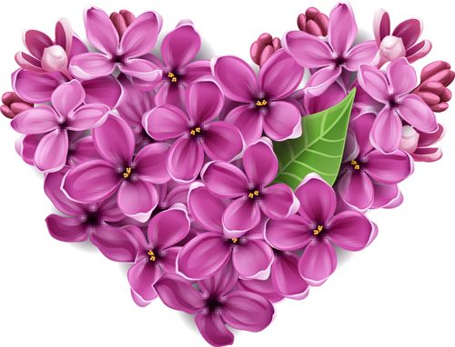 Vector Flowers heart design elements 04: