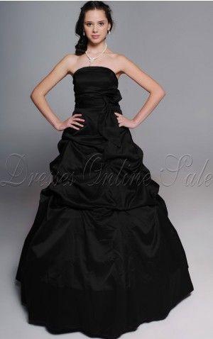 Black Ball Gown Floor-length Strapless Dress   Wedding   Pinterest ...