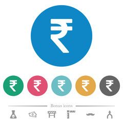 Indian Rupee Sign Flat Round Icons Ad Rupee Indian Sign