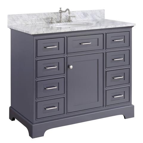 Aria 42 Inch Vanity Carrara Charcoal Gray 42 Inch Bathroom Vanity 42 Inch Vanity Single Bathroom Vanity