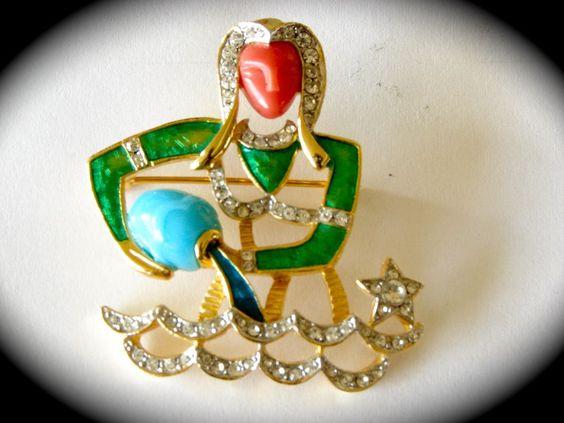 Vintage DeNicola Aquarius brooch pin