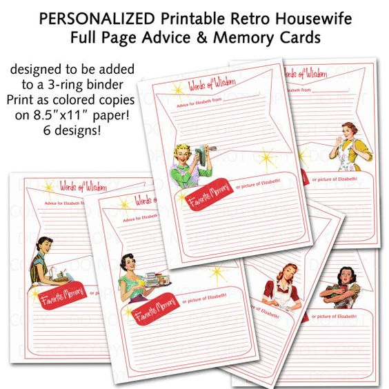 PERSONALIZED Printable 1950's Retro Housewife Full Sheet
