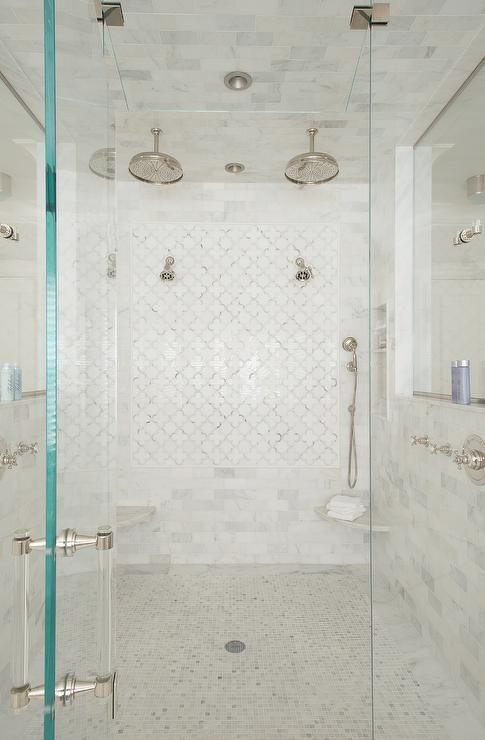 White Marble Arabesque Shower Accent Tiles Use A Light Gray Grout