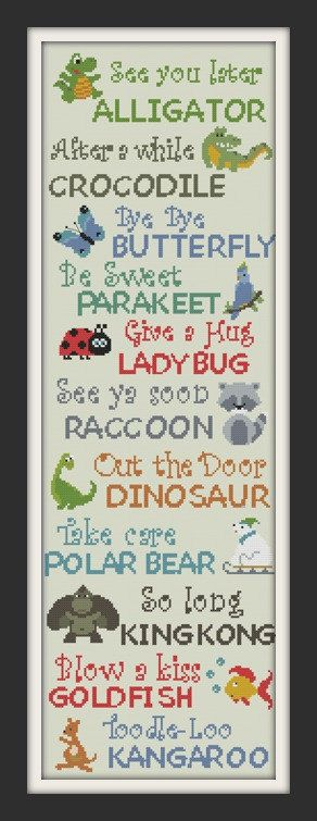 cross stitch sampler see you later alligator animal by Happinesst: