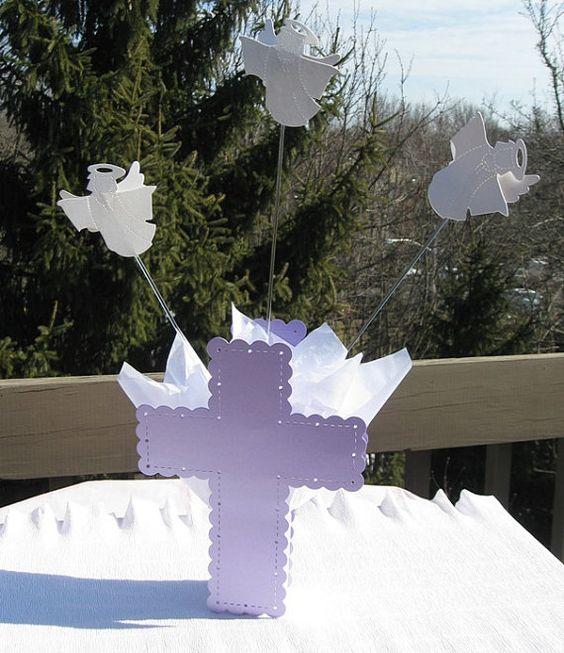 First communion decorations baptism centerpieces angels