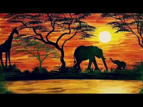 Watercolor African Safari Painting Youtube African Sunset Landscape Paintings Painting