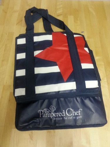 Pampered Chef Insulated Thermal Tote Bag Patriotic with long straps NEW $8