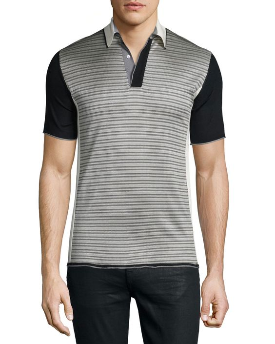 Short-Sleeve Knit Sweater, Beige/Gray/Black, Men's, Size: XX-LARGE, Beige/Grey/Black - CoSTUME NATIONAL