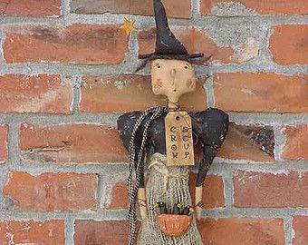 PDF E-PATTERN Primitive Folk Art 'Crow Soup' Witch