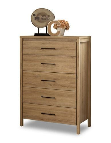 South Shore Gravity 5 Drawer Chest Rustic Oak Rustic Chest
