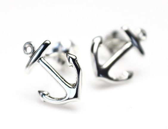 Sterling Silver Anchor Earrings, Nautical Wedding Jewelry, Navy Wife, Stud Earrings, Post Earrings