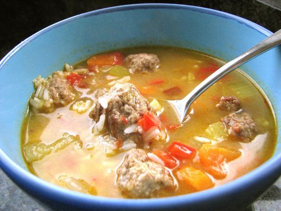 Chipotle Vegetable and Meatball Soup, inspired by the Albondigas