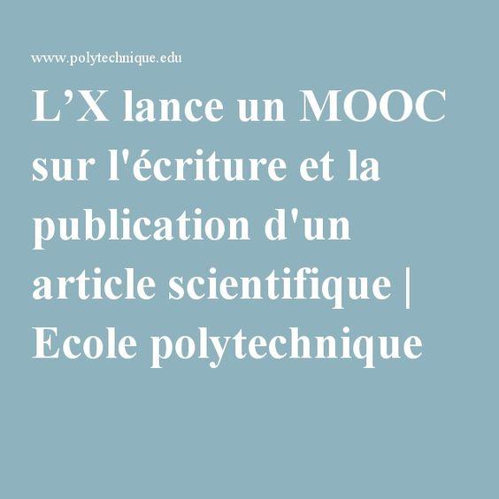 L'X lance un MOOC sur l'écriture et la publication d'un article scientifique | Ecole polytechnique