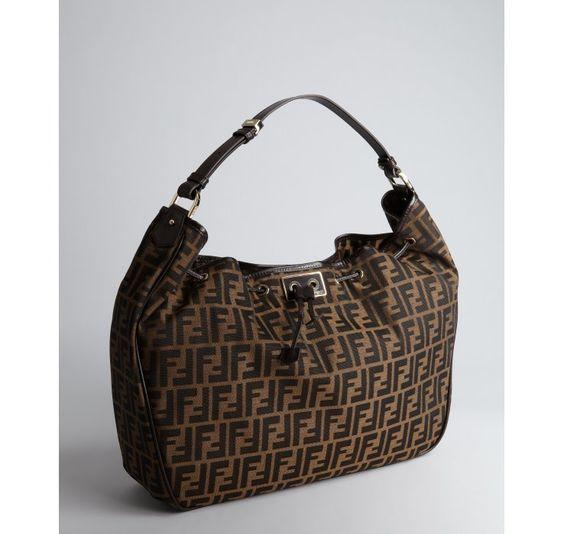 Fendi tobacco and brown zucco print canvas drawstring hobo shoulder bag