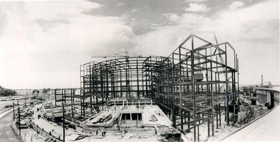 BBC Television Centre being constructed in the late 1950's