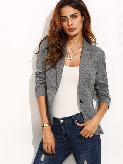 Shop Grey Lapel Long Sleeve Blazer online. SheIn offers Grey Lapel Long Sleeve Blazer & more to fit your fashionable needs.