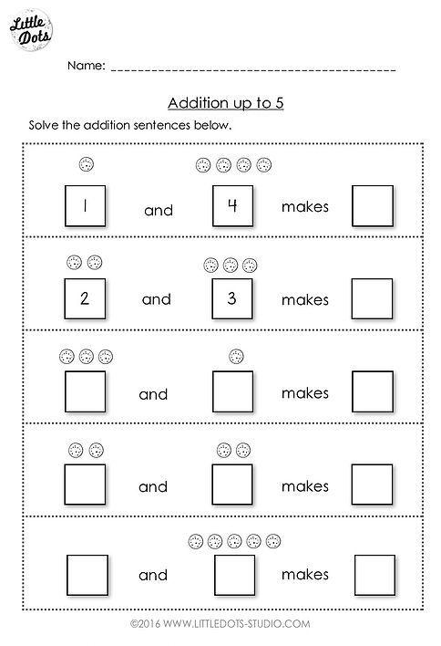 Free Addition Worksheet Suitable For Kindergarten Or Grade 1 Level