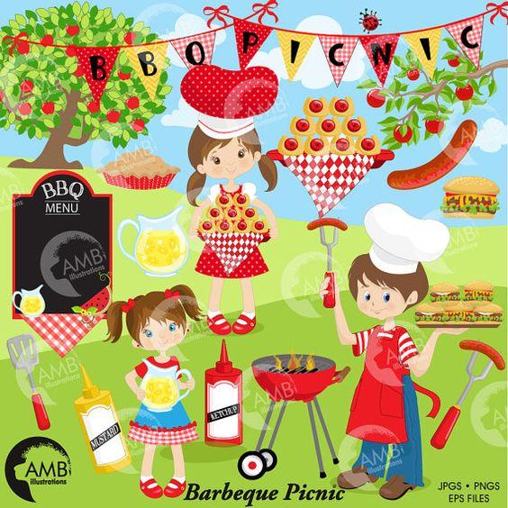 80%OFF BBQ clipart, Picnic clipart, Barbecue clipart, Grill food party clipart, Barbecue party clipart, commercial use, clip art, AMB-910