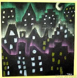 make a stencil of city buildings, cut out and use pastels to outline and draw in windows