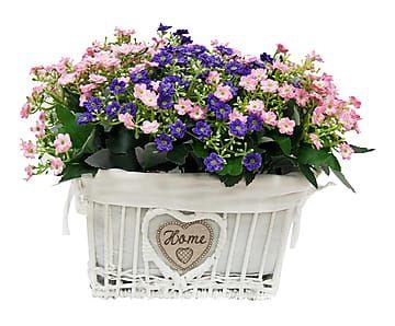 Cesta de mimbre con flores artificiales blanco rosa y lila proyecto macetas maceteros - Cestos de mimbre blanco ...