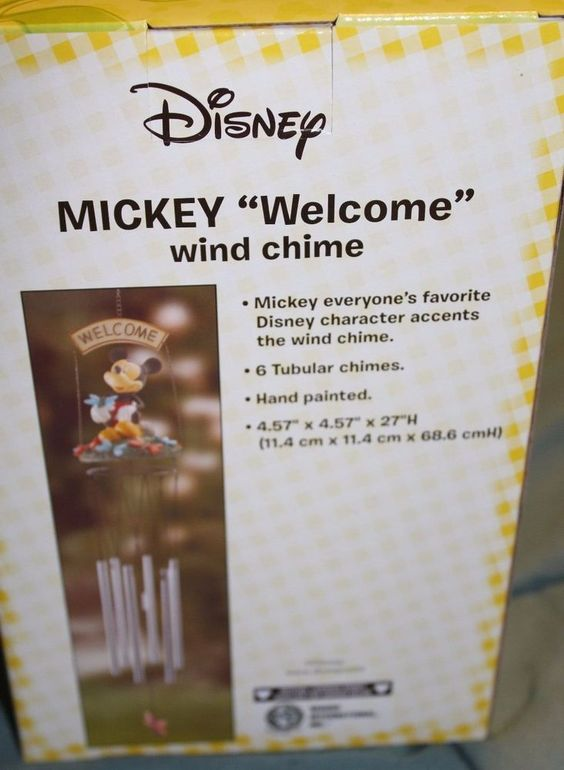 """Disney Mickey Mouse Home Garden Decor Outdoor Wind Chimes """"Welcome"""" Brand New 