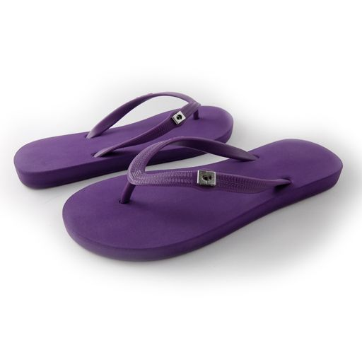 purple Pop It flip flops with changeable charms