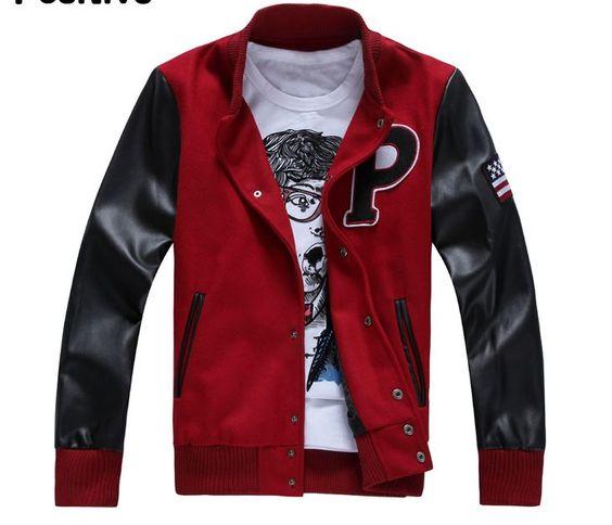 Cheap Collar Slim Letter P Varsity Baseball Jacket Mens Red/Black
