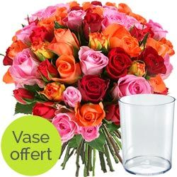 Fleurs - Bouquet de roses multicolores Arlequin