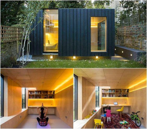 chalet de jardin habitable dans le jardin transformée en salle de yoga et en coin bureau