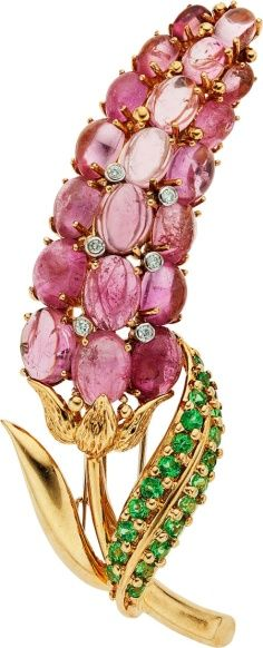 Creative Lalique Pink Jeweled Flower Brooch: